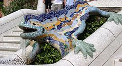 I'd love to go to Barcelona. All those colorful Gaudi mosaics make me smile.: Antony Gaudi, Mosaics, Parks Guell, Parc Guell, Lizards, Parc Güell, Barcelona Spain, Antony Gaudí, Antonio Gaudi