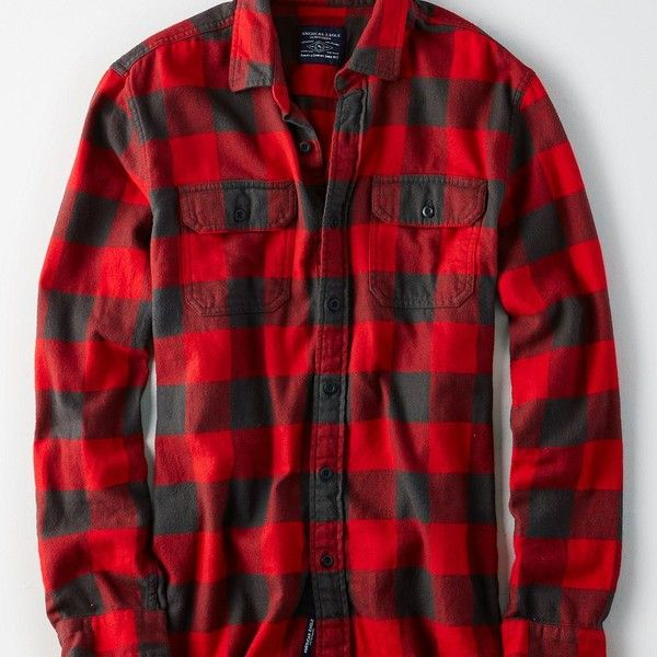 AE Soft & Rugged Flannel Shirt ($18) ❤ liked on Polyvore featuring men's fashion, men's clothing, men's shirts, men's casual shirts, red, mens tall shirts, mens casual long sleeve shirts, mens flannel shirts and men's classic fit dress shirts