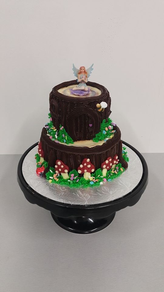 Two Tier Tree Trunk Fairy Cake
