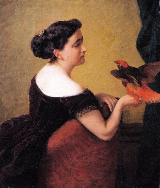 D'Ancona Vito Ritratto di Elvira Bistondi Mariani con un pappagallo, c. 1875