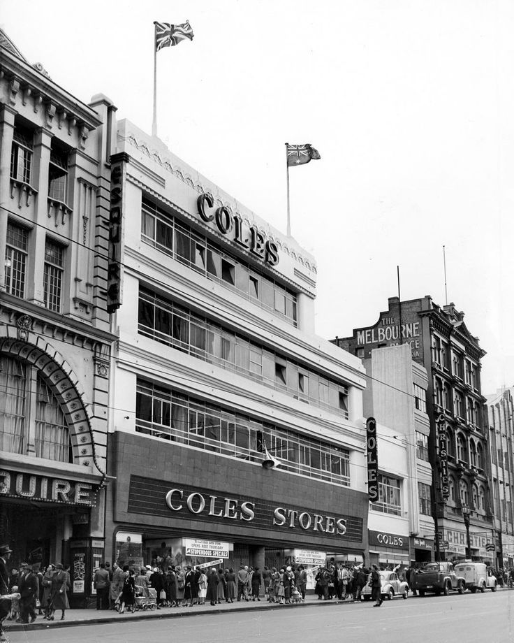 1955. A special squad of police will be on duty to control the crowd expected at the opening of GJ Coles and Co Ltd's new store on the old Mantons site in Bourke st. Glass doors will be temporarily removed and wooden protective barriers erected. The store covers an acre between Bourke and Little Bourke sts on the site of the historic Theatre Royal. Coles paid £1½ million for the property and more than £150,000 has been spent on refitting..