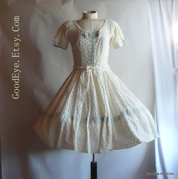 Amazing 50s Eyelet Dress SHEER Full Ivory Small Unusual Vintage Wedding Party