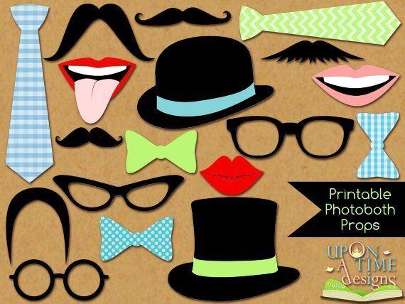 Photobooth Props PRINTABLE - Moustache, Lips, Glasses ...