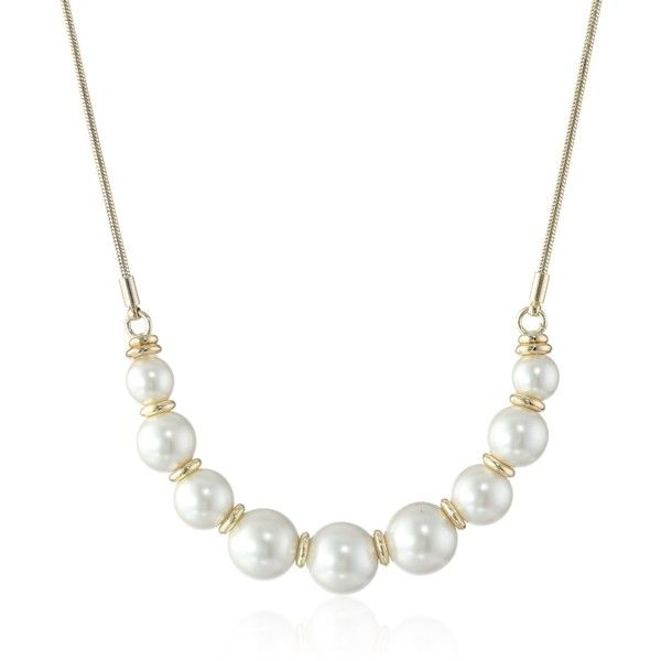 """Napier """"Tailored Pearl"""" White Pearl Frontal Necklace, 19"""" ($24) ❤ liked on Polyvore featuring jewelry, necklaces, pearl necklace, pearl jewelry, napier jewelry, napier necklace and white pearl necklace"""