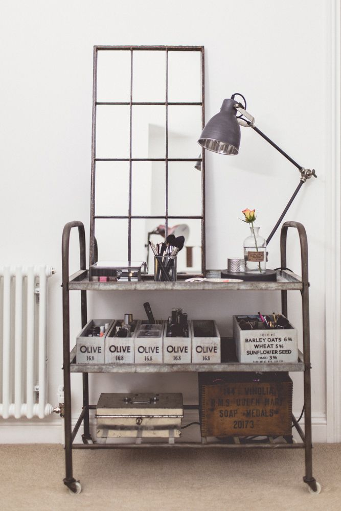 Image By Anna Clarke Photography - Home Office Industrial Styling Of Lifestyle And Wedding Blogger Charlotte O'shea With Studio Lighting, Grey, White And Copper Accents, A Beauty Trolley And An Inspiration Quote By Jasmine Dowling  Reclaimed mirror by Sugden and Daughters