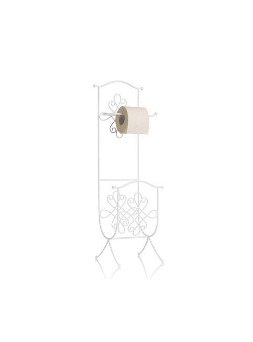Porta carta igienica da terra con portariviste, realizzato in ferro bianco stile…