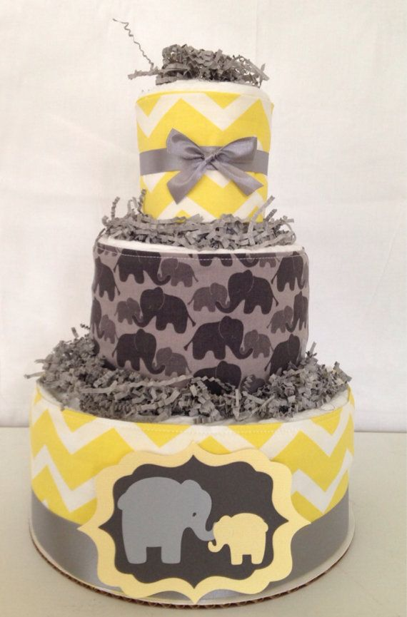 Designer Yellow and Gray Baby Shower Diaper Cake, Yellow and Gray Chevron Centerpiece, Elephant Baby Diaper Cakes on Etsy, $50.00