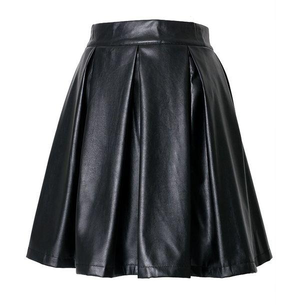 Faux Leather Pleat Skirt Black