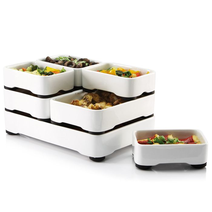 Stackable Oven-to-Table Cookware the scalloped cut-outs allows air to circulate while in the oven, ensuring food is evenly heated