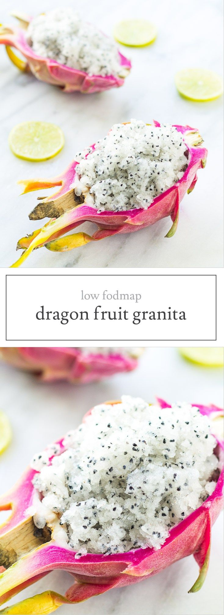 Perfect for a hot summer day, this Low Fodmap Dragon Fruit Granita recipe is a refreshing sweet treat! Whole30-friendly, too!