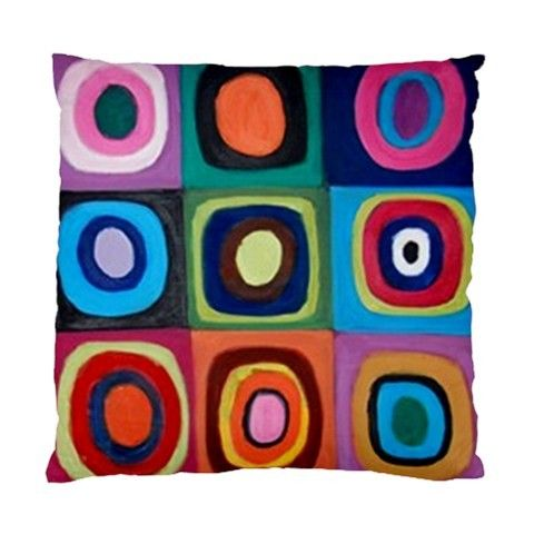 Painted Circles & Squares Multicoloured Art No 2 Double Sided Cushion Cover - by blingjewellery on madeit