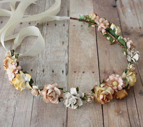 Earthy Tones Flower Crown rustic wedding