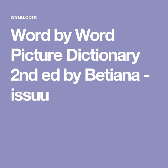 Word by Word Picture Dictionary 2nd ed by Betiana  - issuu