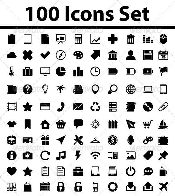 100 Icons Set  #GraphicRiver         Pack contains EPS8, Ai CS5, JPG (300dpi), Photoshop PSD (flat image) (300dpi). All shapes are 100% vector and easy to modify.     Created: 8November13 GraphicsFilesIncluded: PhotoshopPSD #JPGImage #VectorEPS #AIIllustrator HighResolution: Yes Layered: No MinimumAdobeCSVersion: CS Tags: ai #business #camera #collection #computer #download #eps #folder #icon #icons #interface #mail #media #message #mobile #money #multimedia #nature #navigation #office…