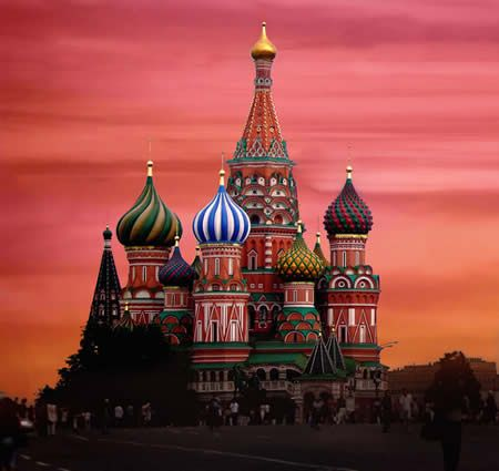 The St. Basil's Cathedral is located on the Red Square in Moscow, Russia. A Russian Orthodox church, the Cathedral sports a series of colorful bulbous domes that taper to a point, aptly named onion domes, that are part of Moscow's Kremlin skyline.