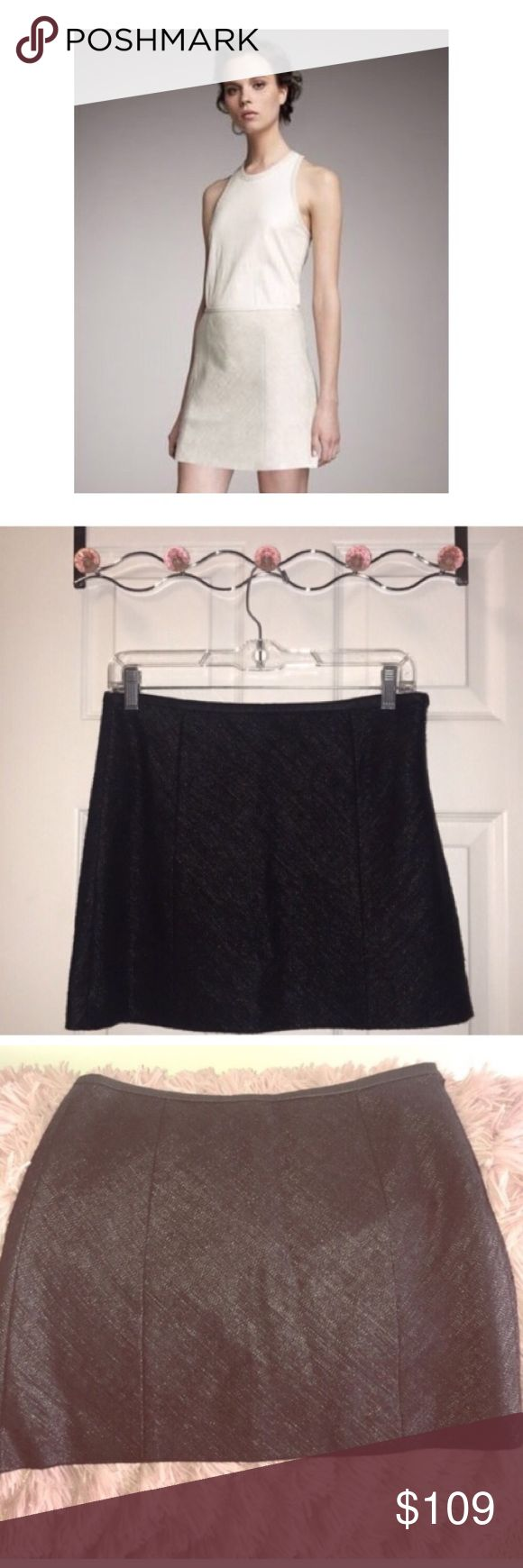 THEORY Eddria l Crosshatch silk&leather trim skirt *PLEASE NOTE: I am selling this skirt in BLACK.. the photo of the model is just so the buyer can see the fit   Gorgeous Theory silk skirt w/ leather trim Zips on the side Excellent condition Shell/ exterior 38% Silk 31% Nylon 31% Virgin wool Combo 100% goat  Lining100% cotton Theory Skirts Mini