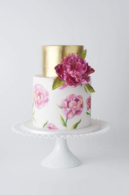 Summer Wedding cake with gold and hand painted pink flowers