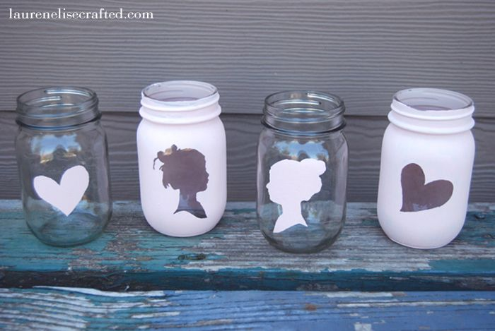 vintage looking mason jars: Paintings Mason Jars, Projects, Jars Art, Silhouette Mason, Jars Ideas, Mason Jars Crafts, Diy, Paintings Jars, Masonjars