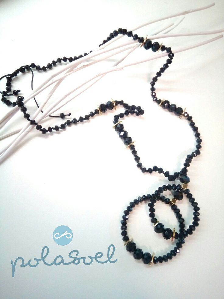 Crystal necklace, with iridescent black crystals,with gold plated elements and macrame claps. by polasoeljewelry on Etsy