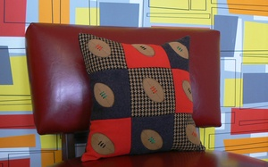 Rugby Ball Patch Style Decorative Cushion.  welshhatcrafts.bigcartel.com