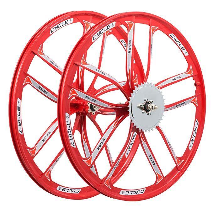 "26/"" MTB Bike 3-Spoke Mag Wheels Wheelset Set Rims Disc Brake 8//9//10 Speed W//QR"