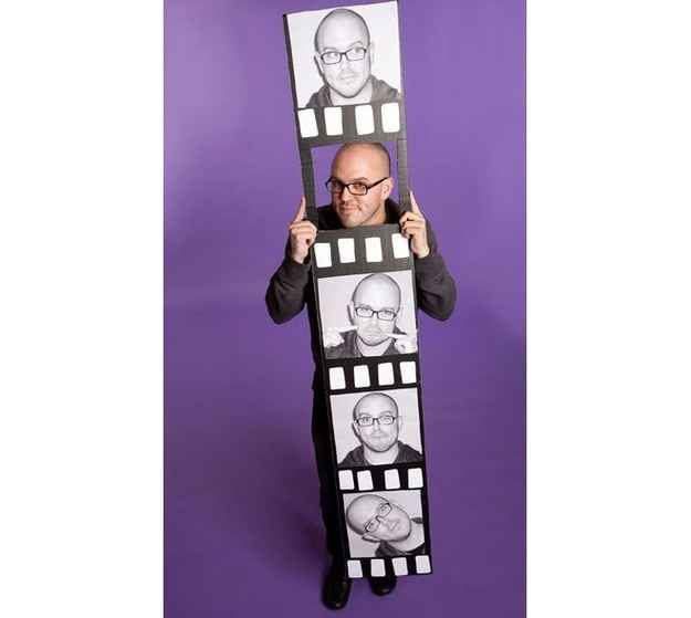 Unfold the box, and make a life-size photo strip. | 33 Super Easy Cardboard Box Halloween Costumes For Lazy People