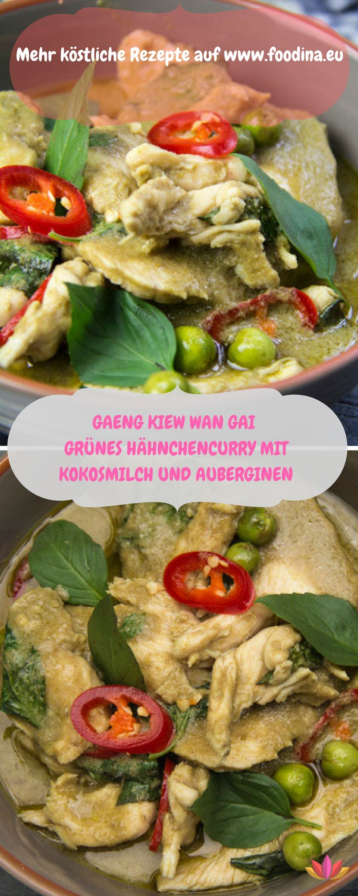 Ein grossartiges grünes Curry aus Thailand, schön scharf und mit zartem Huhn
