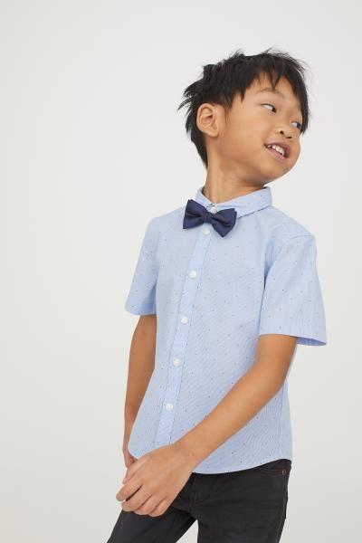 e4bbceb9d6aae Chemise avec cravate/nœud - Bleu/rayé/nœud papillon - ENFANT   H&M FR 2