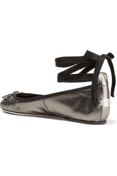 Jimmy Choo - Grace Crystal-embellished Metallic Leather Ballet Flats - Gunmetal - IT