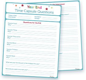 Printable End of the Year Time Capsule Questions from Today's Mama