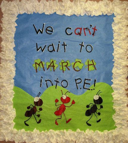 March Theme Bulletin Board: We Can't Wait to March... (may use with dinosaur theme - we are the dinosaurs marching...)