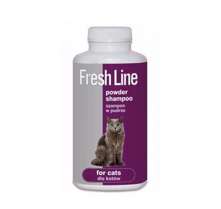 Fresh Line Szampon dla kotów w pudrze. Suchy szampon Fresh Line w pudrze przeznaczony do mycia kotów bez użycia wody, delikatnie usuwający zanieczyszczenia z sierści, odświeżający i neutralizujący nieprzyjemny zapach.