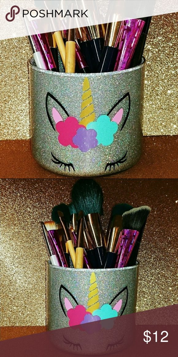 Unicorn MakeUp Brush Holder // Silver Holographic Cute ...
