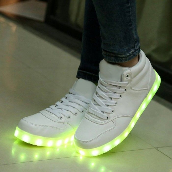 Chaussure Lumineuse Led,Chaussure Montante Led Blanc, Chaussures Lumineuses Rechargeable