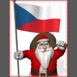 <b>background color can be changed: CUSTOMIZE it</b><br /> Svatý Mikuláš visiting Česká republika in Central Europe proudly waving státní vlajka České republiky <br /> merry xmas and a happy new year!  Veselé Vánoce a šťastný nový rok!