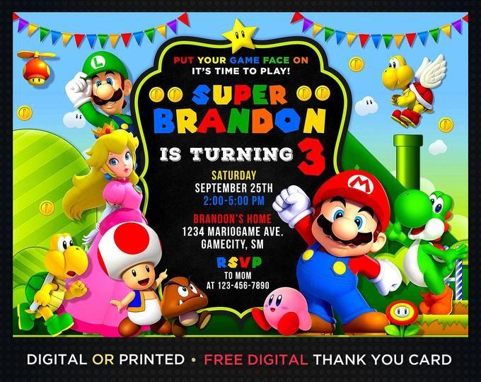 Pin On Invitaciones De Mario Bros