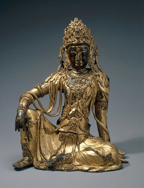 Seated Avalokiteshvara (Gwaneum Bosal) 1300s gilt bronze H: 15 1/8 in. x W: 11 7/8 in. National Museum of Korea, Seoul