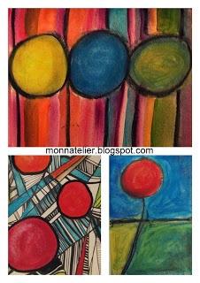 des ronds et des lignes, des couleurs pastel à l'eau et acrylique . Nathalie monnatelier.blogspot.fr