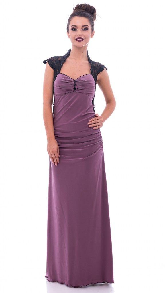 Rochie lungă lila cu dantelă neagră