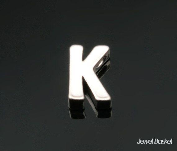 "Matte Rhodium Alphabet - 2pcs Capital Letter ""K""  - Matte Rhodium Plated (Tarnish Resistant) - Brass / 4.8mm x 7mm  - 2pcs / 1pack"