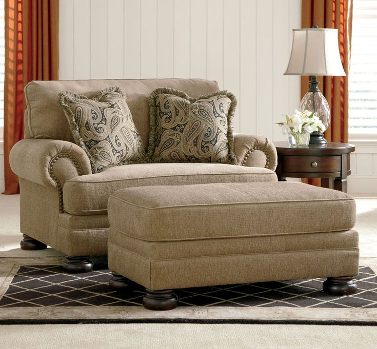 Joyce traditional tan oversized chenille sofa couch set - Cheap comfortable living room chairs ...