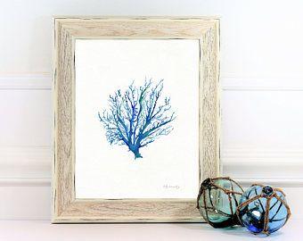 Coral watercolor, No.4 Sea Coral, Coral painting, wall art, coral art, blue coral, beach art