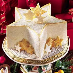 Twinkling Star Cake ~ Make a show-stopping centerpiece with this star-shaped cake. If you think the shape is a treat, wait until you taste the fruit-and-nut filling or the indulgent white chocolate icing.