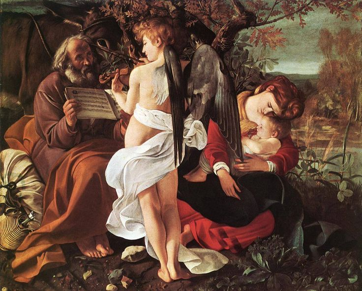 """Michelangelo Merisi Da Caravaggio (Milan, 29 September 1571-Porto Ercole, 18 July 1610) was an Italian painter active in Rome, Naples, Malta, and Sicily between the years 1593 And 1610. is considered the first great exponent of the baroque painting. """"rest on the flight to Egypt"""" 1597 Oil on canvas 133,5 x166, 5 CM Palazzo Doria Pamplili, Rome."""