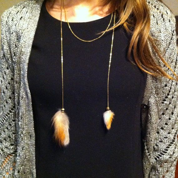 Recycled red fox fur necklace