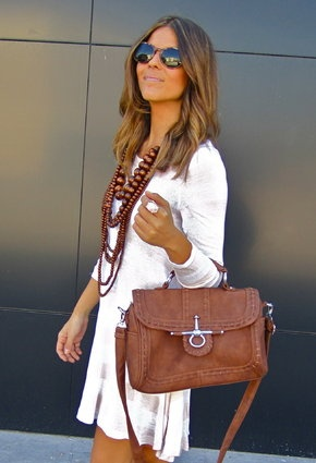 : Hair Colors, Brown Bags, Beads, Fashion Looks, Work Outfits, Fashion Trends, Accessories, White Dresses, Chunky Necklaces