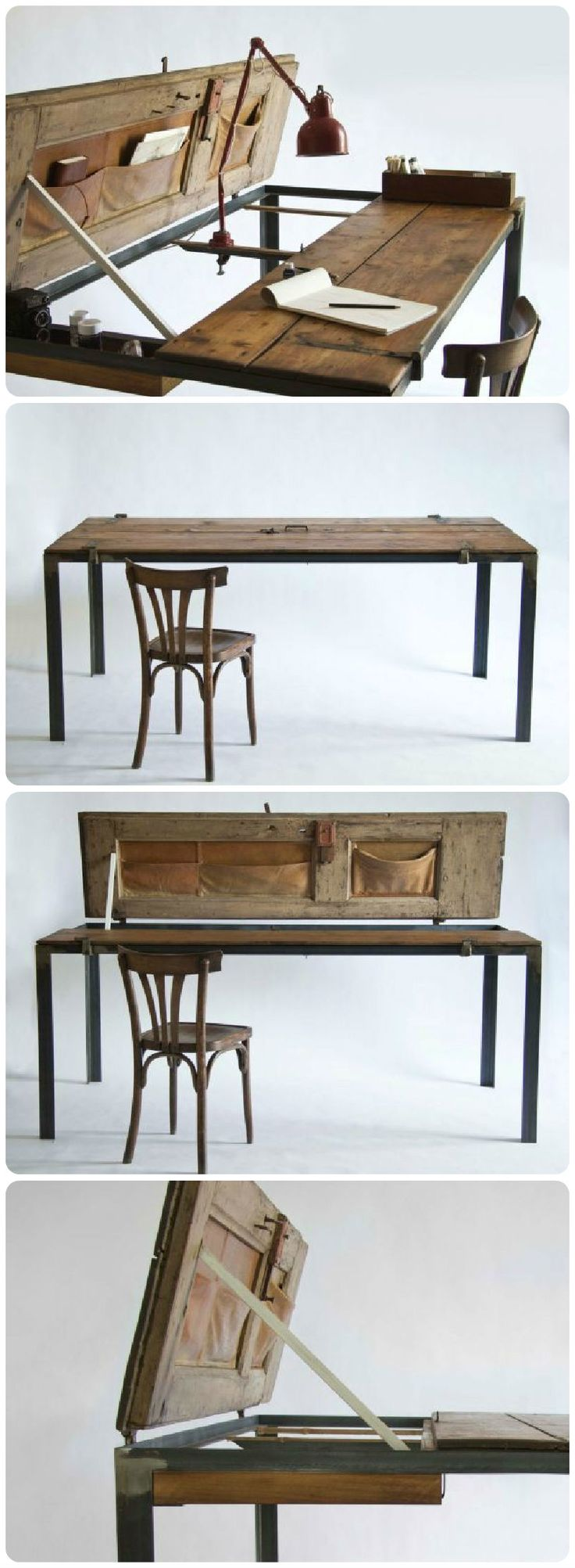"Reclaimed wood furniture by Manoteca ""it's a  table built from an old exterior door"""