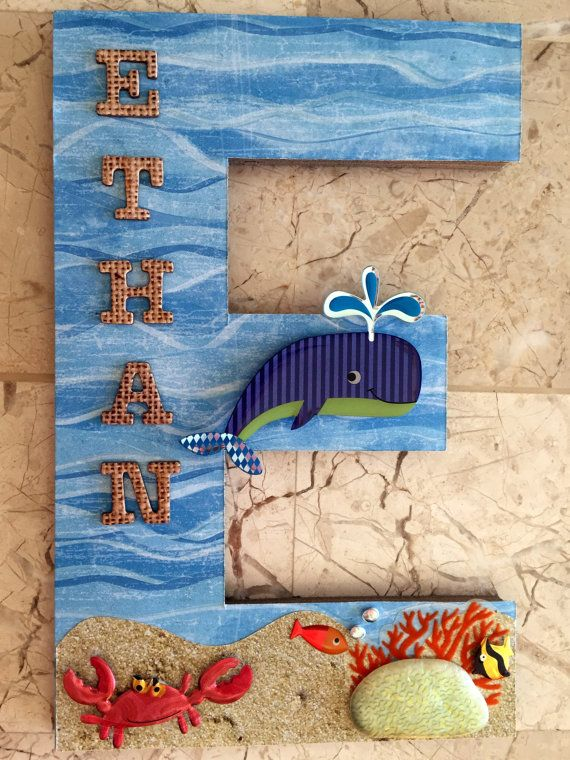 New Whale Wall Letter Single Initial Name by BearySpecialScrappin