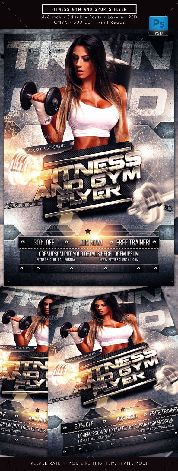 #Fitness #Gym and Sports #Flyer - Sports Events Download here: https://graphicriver.net/item/fitness-gym-and-sports-flyer/19401848?ref=alena994