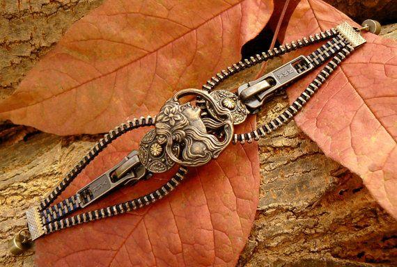 Steampunk Bracelet  Zipper Bracelet  Button by PeteAndVeronicas, $27.00